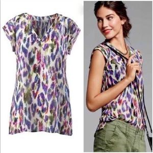 Cabi 5027 Plume Feather Printed Blouse Tunic Top